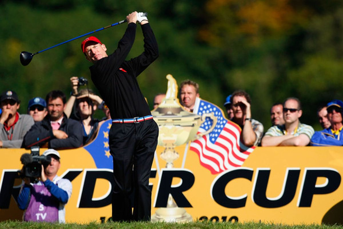 NEWPORT WALES - OCTOBER 04:  Jim Furyk of the USA tees off in the singles matches during the 2010 Ryder Cup at the Celtic Manor Resort on October 4 2010 in Newport Wales. (Photo by Tom Dulat/Getty Images)