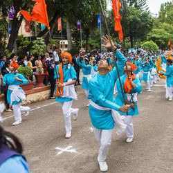 Students perform the Lezim dance (a folk dance form, from Maharashtra, India) during the 71st Independence Day celebrations at the MIT World Peace University in Pune, Maharashtra, India, on August 15, 2017.