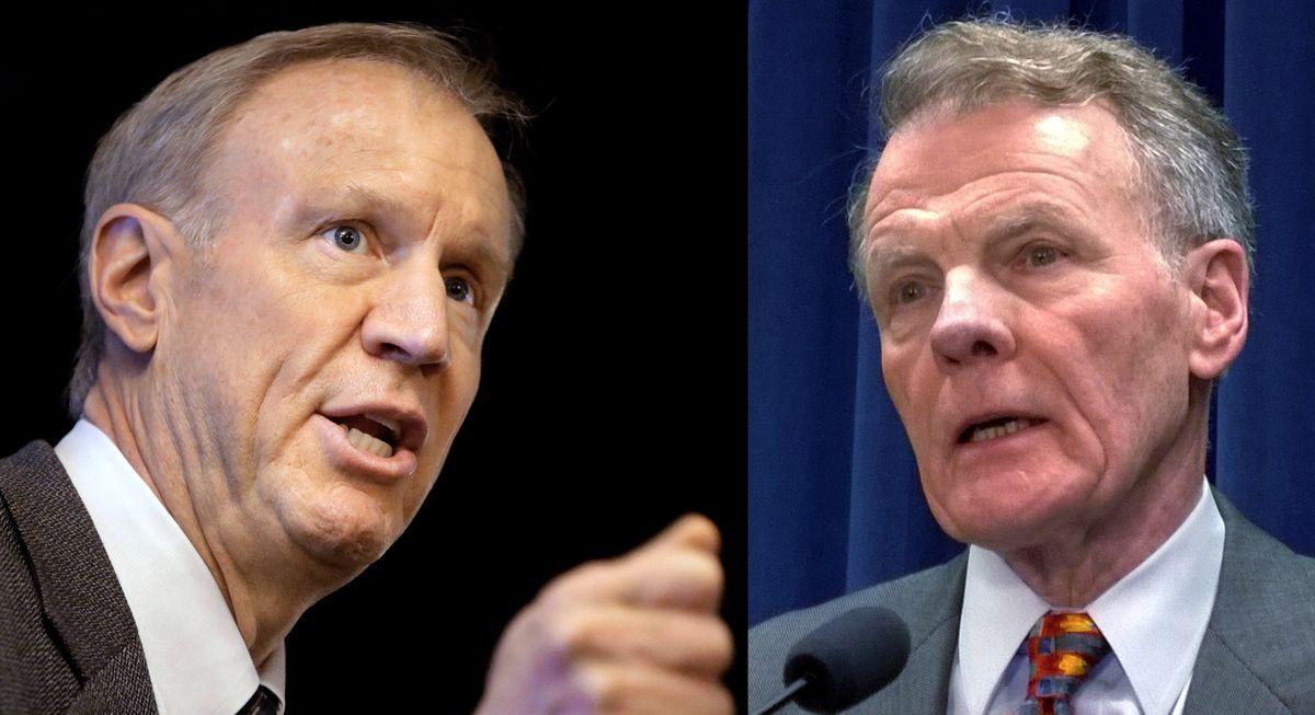Gov. Bruce Rauner and House Speaker Michael Madigan. | Associated Press file photos