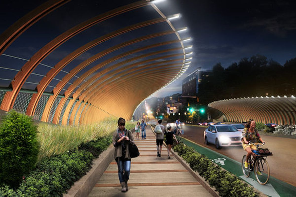 """^ """"sin(uosity)"""" Designed by Max Neiswander and Luke Kvasnicka of Atlanta. Winner of the 10th Street Bridge design portion. Looks like: a modernistic ribcage with welcome lighting and landscape enhancements."""
