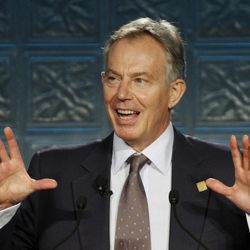 FILE - In this Wednesday, Oct. 5, 2011 file photo former British Prime Minister Tony Blair speaks at the Cuyahoga Community College scholarship luncheon in Cleveland.