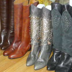 Tall buttery leather boots at Amarcord Vintage Fashion