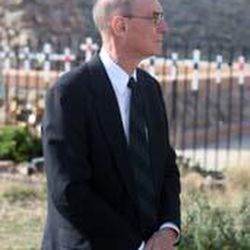 Elder Henry B. Eyring awaits the start of an event marking the 150th anniversary of the Mountain Meadows Massacre at the memorial site near Enterprise.