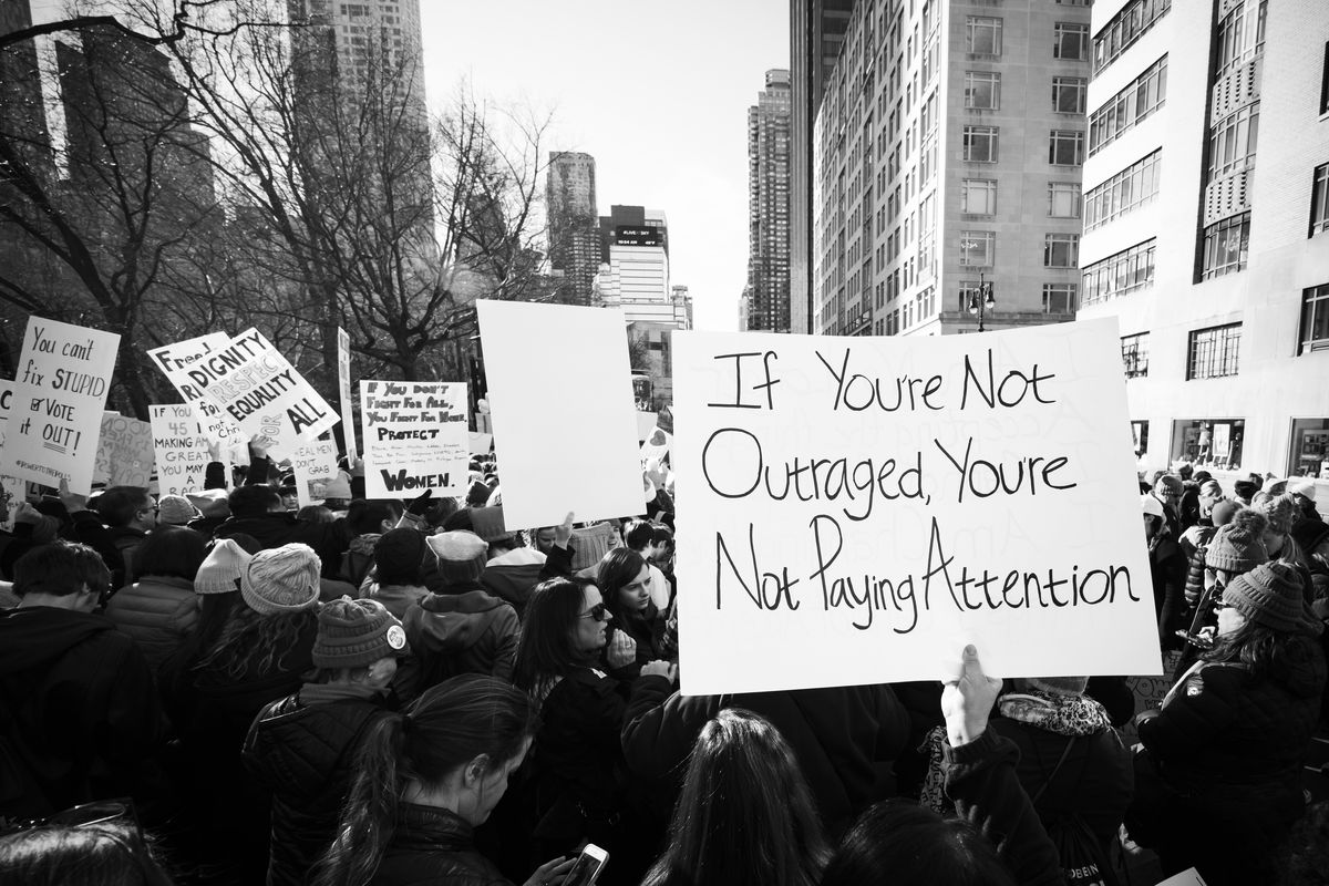 Demonstrators at the second annual Women's March in New York City on January 20, 2018.