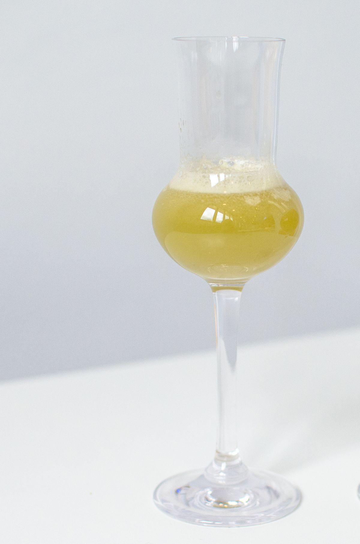 A mezcal cocktail at Celeste (mint, cucumber, Juice Union pineapple juice)