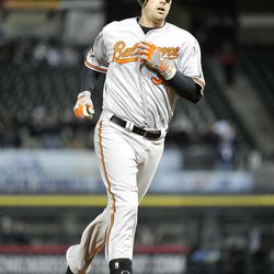 CHICAGO, IL - APRIL 16:   Matt Wieters #32 of the Baltimore Orioles rounds the bases after hitting a solo home run during the eighth inning against the Chicago White Sox at U.S. Cellular Field on April 16, 2012 in Chicago, Illinois.  (Photo by Brian Kersey/Getty Images)