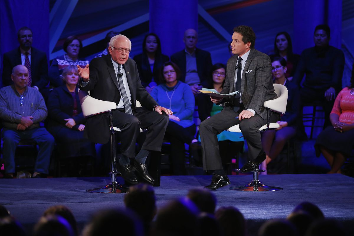 Sen. Bernie Sanders (I-VT) speaks at a town hall forum hosted by CNN on Monday.