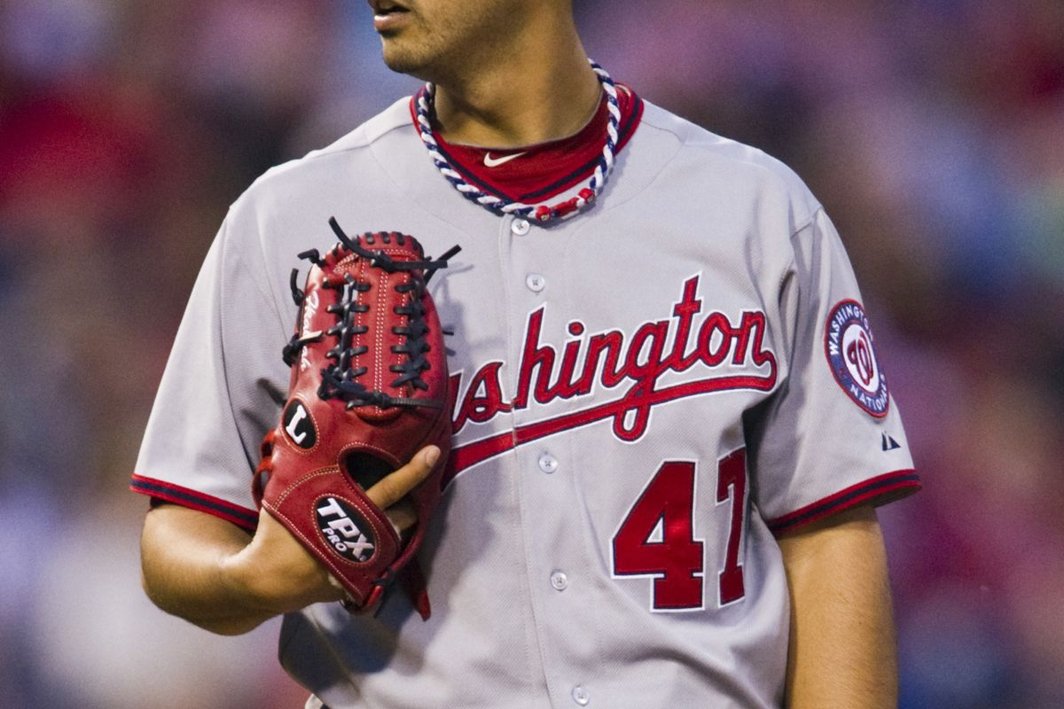 May 21, 2012; Philadelphia, PA, USA; Washington Nationals pitcher Gio Gonzalez (47) during the third inning against the Philadelphia Phillies at Citizens Bank Park. The Nationals defeated the Phillies 2-1. Mandatory Credit: Howard Smith-US PRESSWIRE