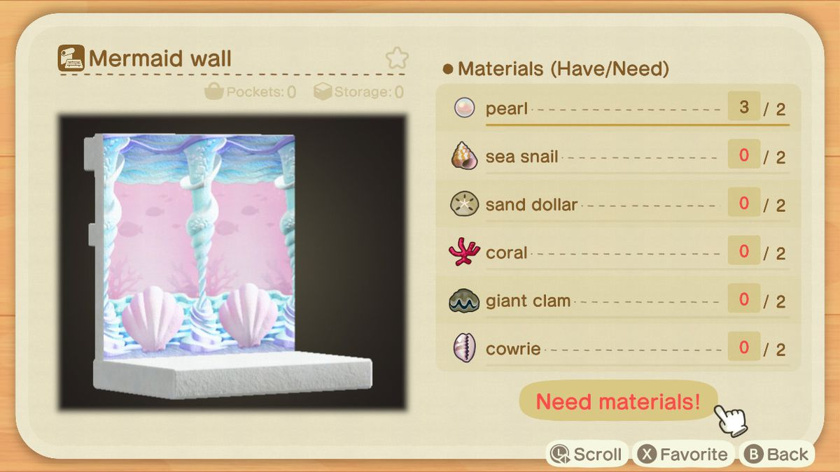 An Animal Crossing recipe for a Mermaid Wall