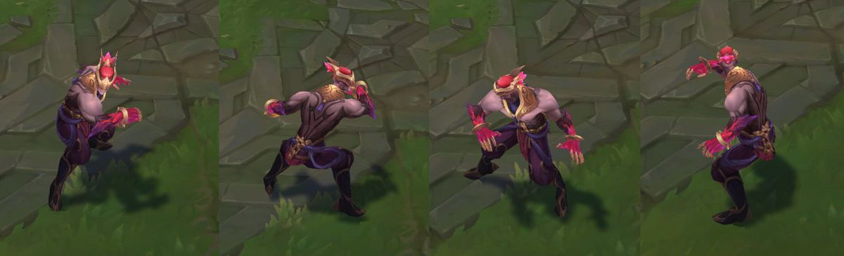 Nightbringer Lee Sin's turnarounds for his in-game model