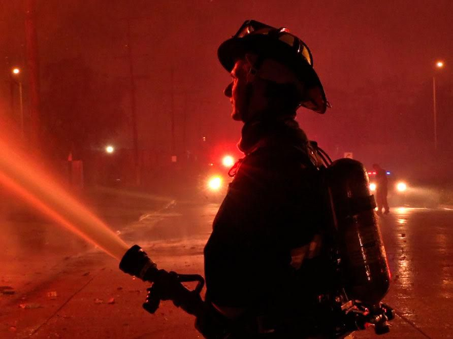 Firefighters battled an intense blaze early Thursday June 21, 2018 in the 15900 block of South Fisk Ave.   Justin Jackson/ Sun-Times