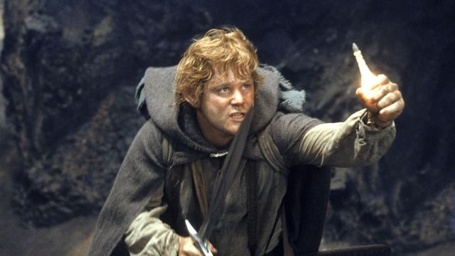 Sam (Astin) wields a blade and a vial of light.