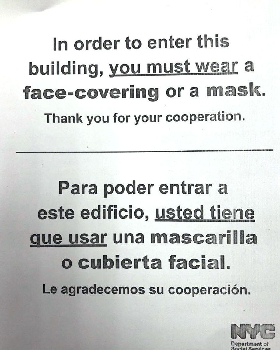 A sign was posted at a Bronx HRA office asking clients to take safety precautions during the coronavirus outbreak.