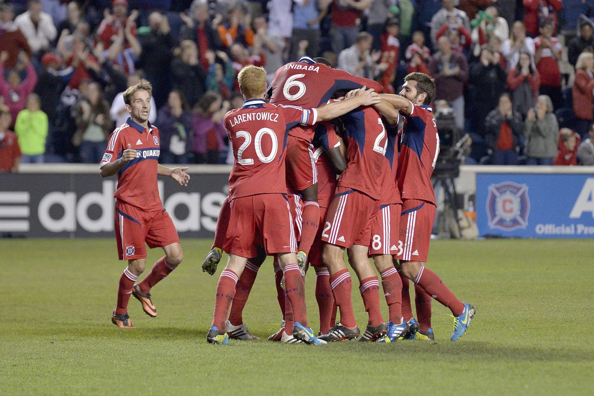 It is definitely group hug time as the Fire congratulate Alex on his game-winning goal Saturday night at Toyota Park. The win puts the Fire into the fifth and final playoff spot with six games remaining.