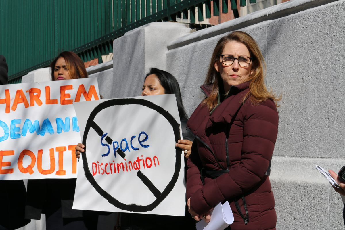 Success Academy has repeatedly fought the city for space. CEO Eva Moskowitz and parents protested at a Harlem school earlier this year.