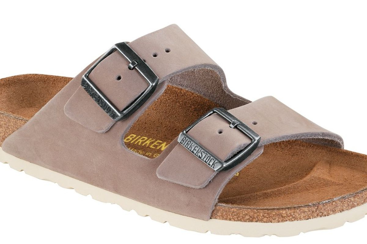 "Arizona Caribou Nubuck Sandal, <a href=""https://www.birkenstockusa.com/products/women/sandals/arizona/caribou-nubuck/55240"">$120</a>"