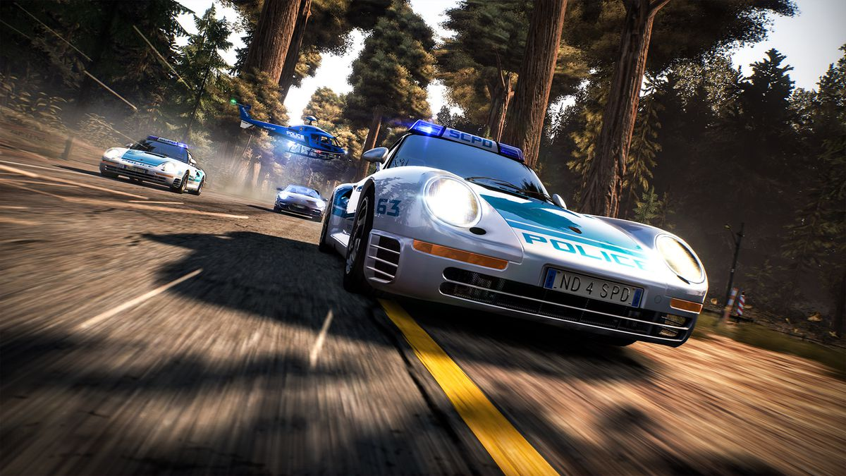 a street racer in a souped-up sports car roars into the frame, trailed by two cop cars in ... wait for it ... hot pursuit