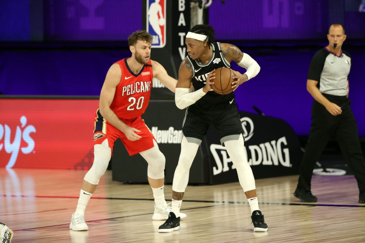 Richaun Holmes of the Sacramento Kings handles the ball during the game against the New Orleans Pelicans on August 6, 2020 at The HP Field House at ESPN Wide World Of Sports Complex in Orlando, Florida.