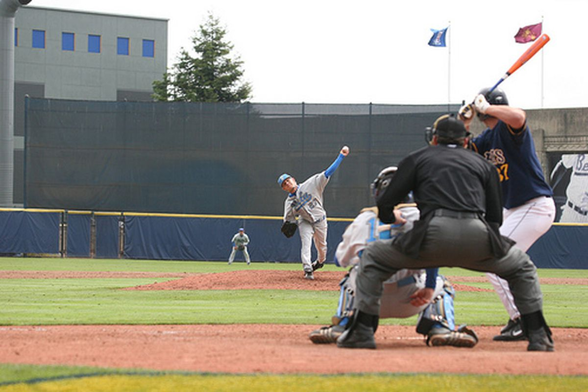 """<em>Rob Rasmussen will be on the mound for Bruins this afternoon in Omaha. Photo Credit: <a href=""""http://www.flickr.com/photos/uclabaseball/2664943145/"""" target=""""new"""">UCLA Baseball (flickr)</a></em>"""