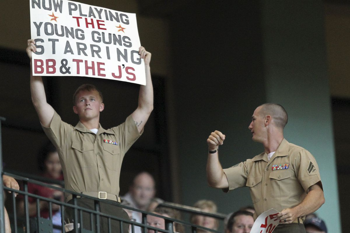 HOUSTON, TX - JULY 29:   United States military personnel in attendance as the Houston Astros played the Pittsburgh Pirates at Minute Maid Park on July 29, 2012 in Houston, Texas. (Photo by Bob Levey/Getty Images)