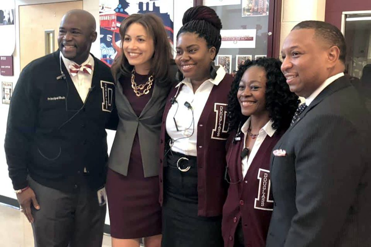 Tennessee's new education commissioner Penny Schwinn (second from left) met with Douglass High School students and Shelby County Schools leaders Friday.