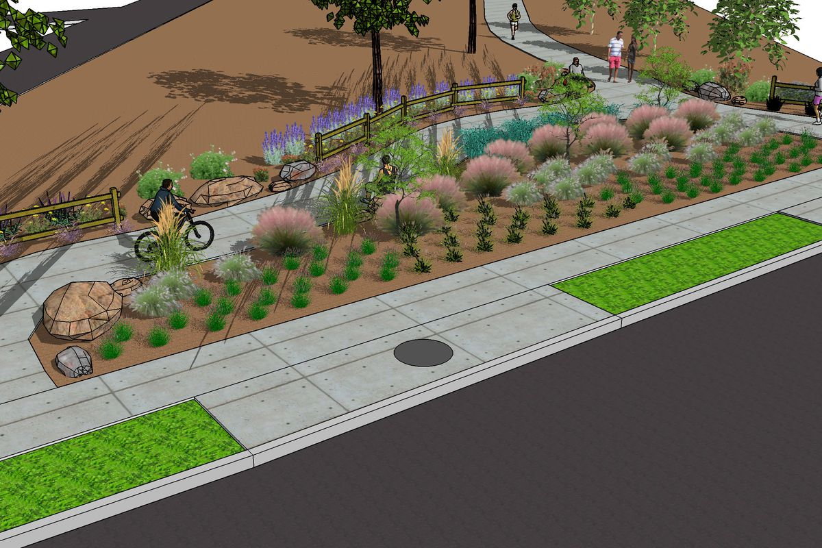 Rendering of bicyclist at park entrance