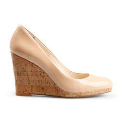 "<a href=""http://www.cwonder.com/patent-leather-cork-wedge-18.html"">Patent Leather Cork Wedge</a> in Nude and Black, $128"
