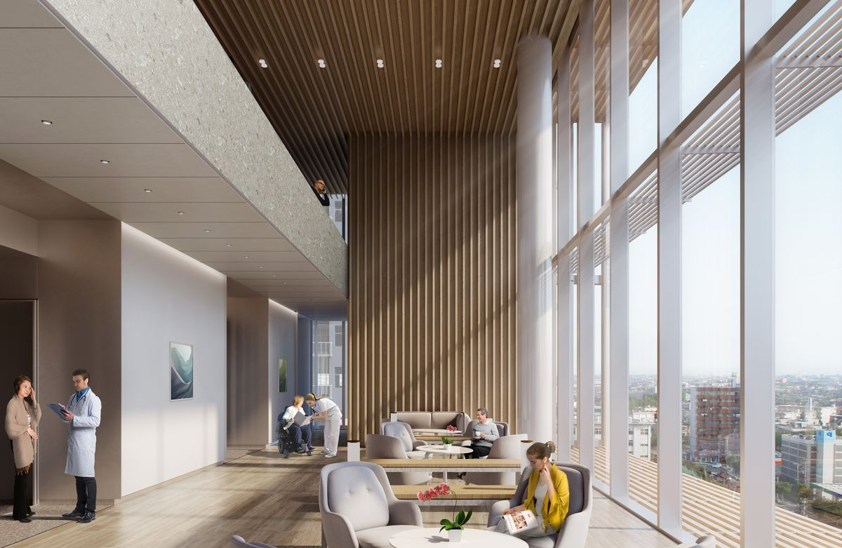 Rendering of seating area with chairs, tables, and a wall of windows.