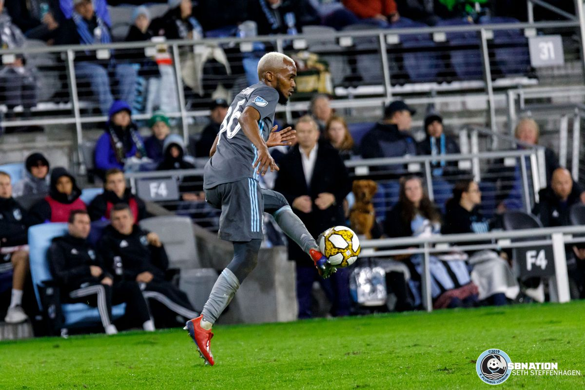September 29, 2019 - Saint Paul, Minnesota, United States - Minnesota United defender Wilfried Moimbe-Tahrat (86) traps the ball during a match against LAFC at Allianz Field.