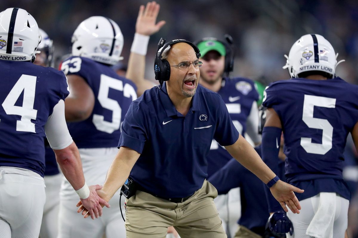 Head coach James Franklin of the Penn State Nittany Lions leads his team against the Memphis Tigers in the second half of the Goodyear Cotton Bowl Classic at AT&T Stadium on December 28, 2019 in Arlington, Texas. v Penn State