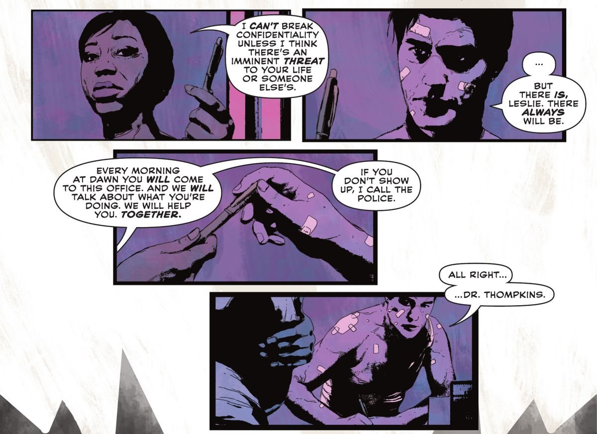 Leslie Thompkins explains to Bruce Wayne that he can come in for therapy at dawn every day, or she can expose his secret identity in Batman: Imposter #1 (2021).