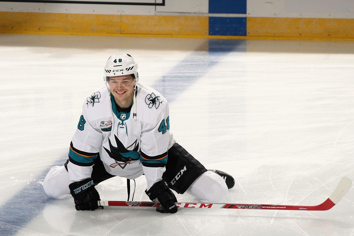 NEWARK, NJ - OCTOBER 14: Tomas Hertl #48 of the San Jose Sharks stretches in warm-ups prior to the game against the New Jersey Devils at the Prudential Center on October 14, 2018 in Newark, New Jersey.