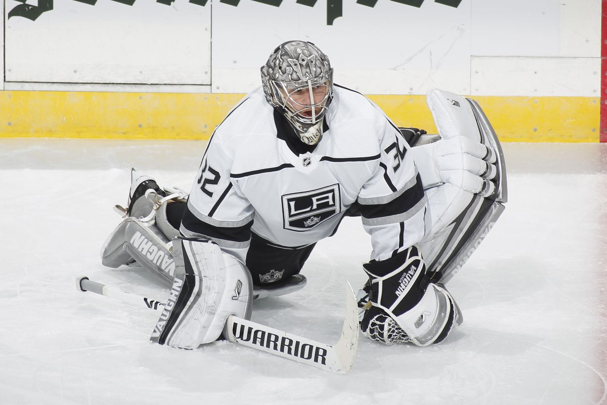 Jonathan Quick #32 of the Los Angeles Kings stretches prior to the game against the Minnesota Wild at the Xcel Energy Center on January 28, 2021 in Saint Paul, Minnesota.
