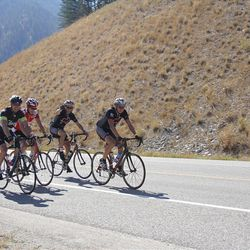 Clark Livsey of Springville, UT leads a group of cyclists up Snake River Canyon in 2012 Lotoja. Livsey finished the ride in 10:55:49.