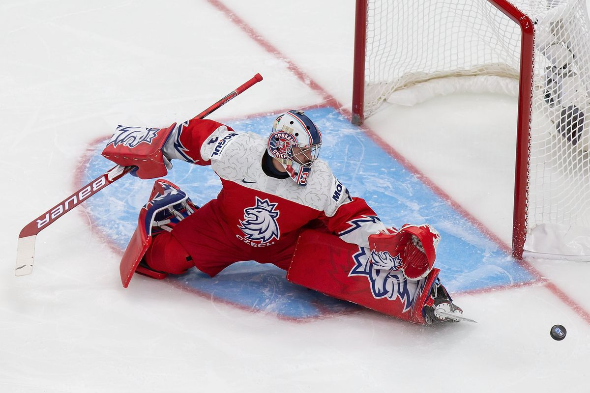 Goaltender Lukas Parik #1 of the Czech Republic makes a save against Russia during the 2021 IIHF World Junior Championship at Rogers Place on December 27, 2020 in Edmonton, Canada.