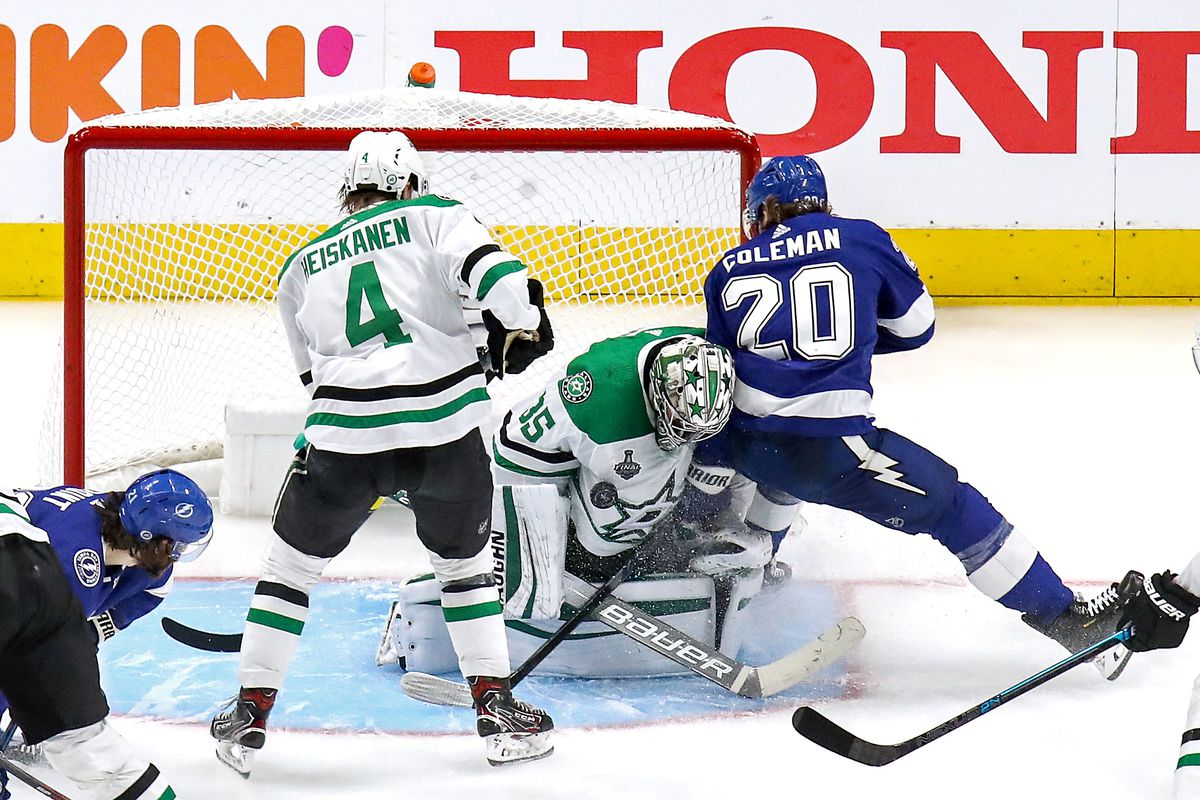 Anton Khudobin of the Dallas Stars makes the save against Blake Coleman of the Tampa Bay Lightning during the third period in Game One of the 2020 NHL Stanley Cup Final at Rogers Place on September 19, 2020 in Edmonton, Alberta, Canada.