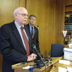 North Dakota Secretary of State Al Jaeger, left, speaks while North Dakota Attorney General Wayne Stenehjem listens at a news conference on the results of an investigation into petition fraud, Tuesday, Sept. 4, 2012 in Stenehjem's office at the Capitol in Bismarck, N.D., Two proposed ballot measures _ to create a North Dakota conservation fund and make marijuana use legal for medical treatments _ were disqualified from the ballot because hundreds of the initiative petition signatures were allegedly forged or made up. Eight North Dakota State University football players are among the 11 petition circulators who are facing charges.