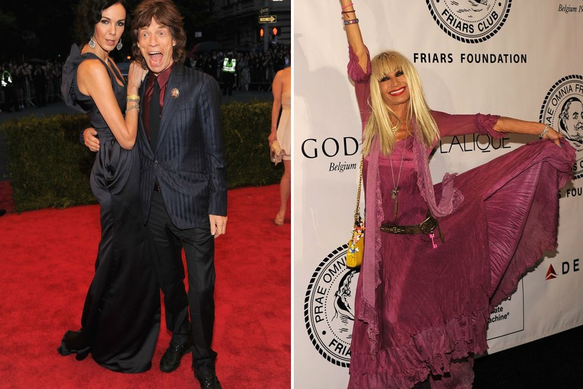 Left: L'Wren Scott and #1 distraction, husband McJagger. Right: Betsey Johnson. Photos via Getty