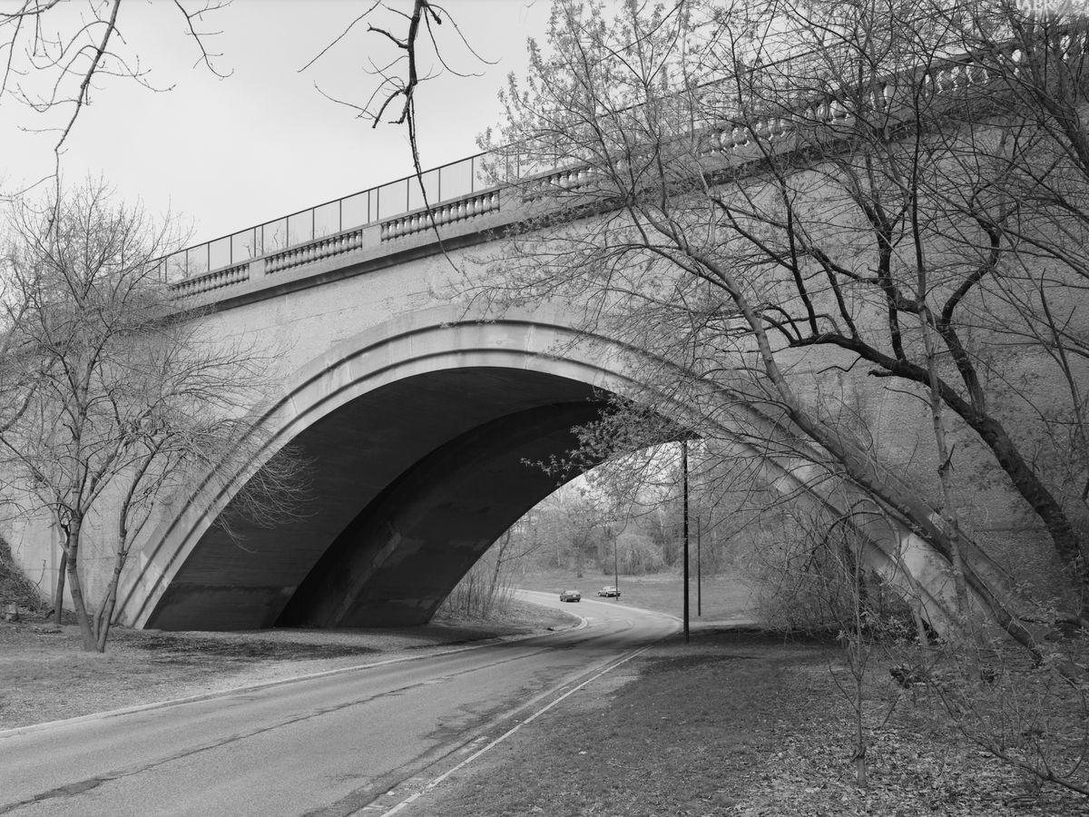 The 16th street bridge in Washington D.C. The bridge spans over a parkway.