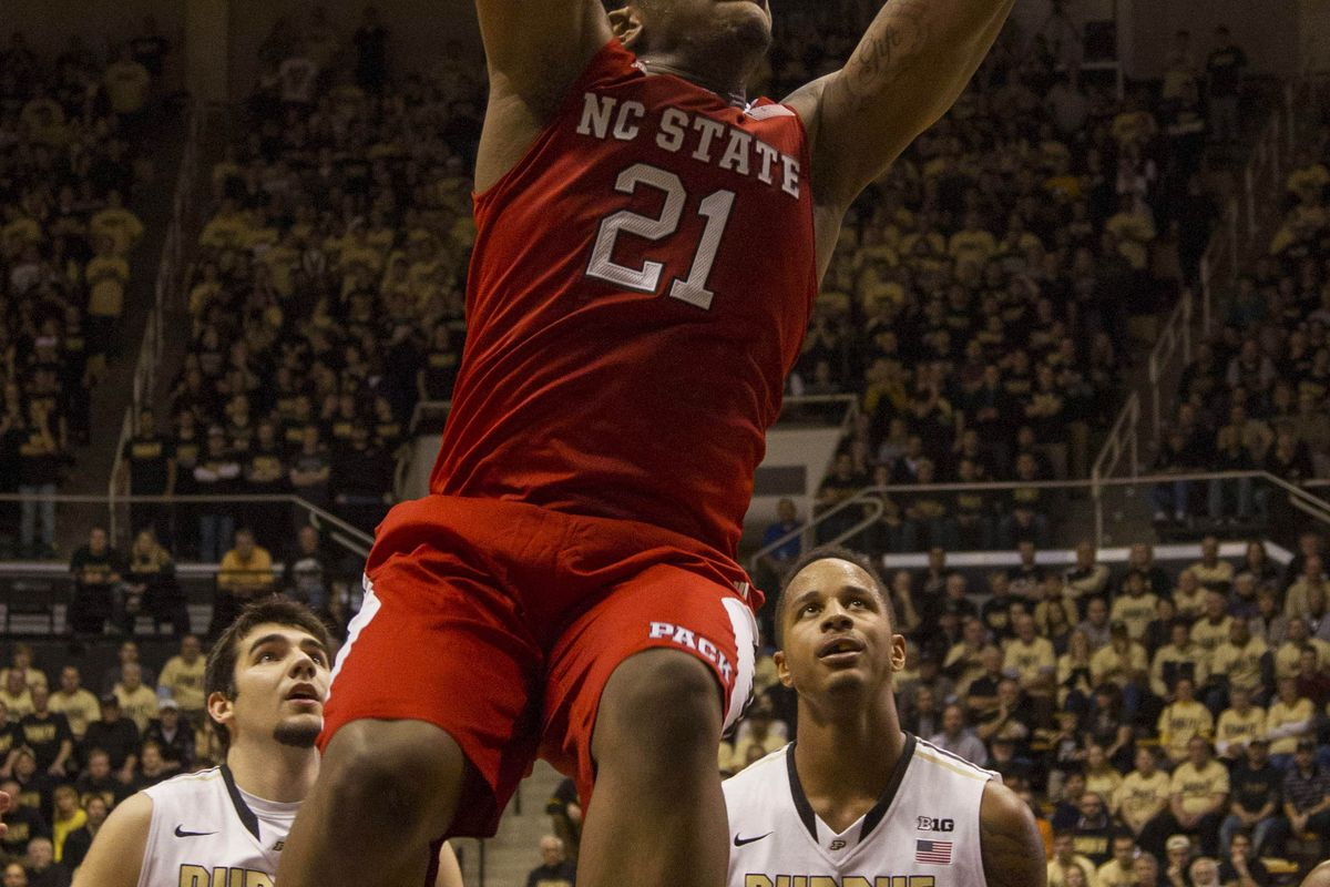 North Carolina State Wolfpack forward Beejay Anya (21) dunks the ball in the first half against the Purdue Boilermakers at Mackey Arena.