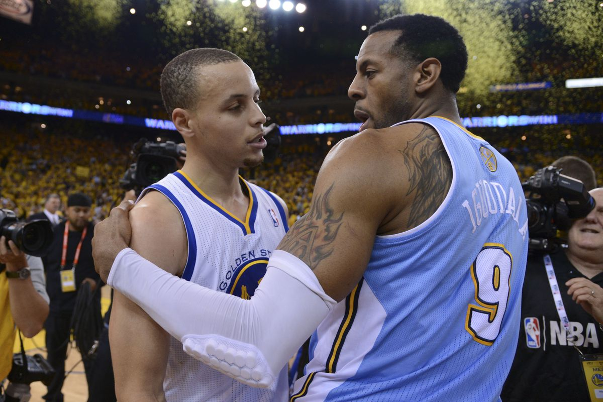 Andre Iguodala and his new best friend Stephen Curry