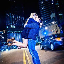 """Cara and Scott Nava of <a href=""""http://www.carascophoto.com/"""">Carasco Photography</a> loves snapping engagement photos at Lower Wacker Drive at night. """"After dark, Lower Wacker creates an iconic backdrop for engagement photos,"""" Cara says. """"There are a var"""