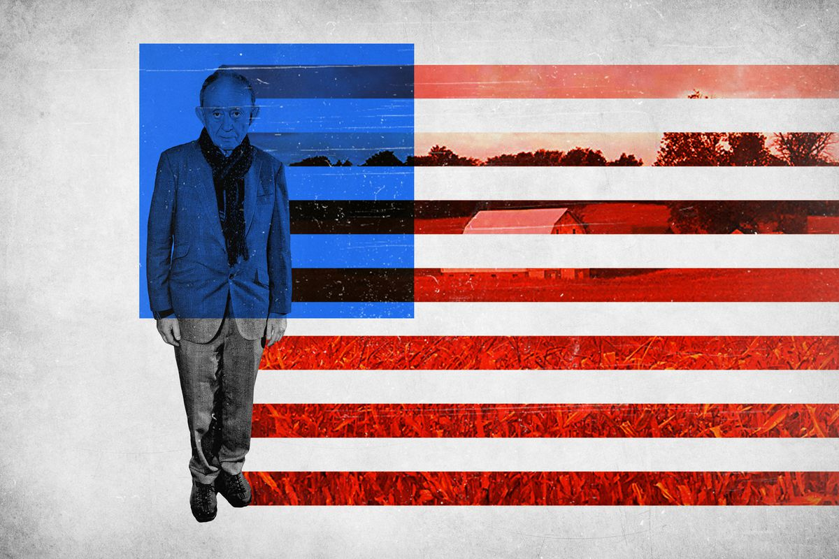 Fredrick Wiseman standing in front of an American flag and rural American scenery