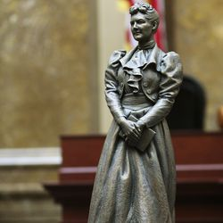 A bronze statue depicting former state Sen. Martha Hughes Cannon is displayed for legislators at the Capitol in Salt Lake City on Tuesday, Jan. 28, 2020. The statue is a 25-inch replica of the 7-foot-6-inch statue that will represent Utah at theU.S. Capitol's National Statuary Hall.