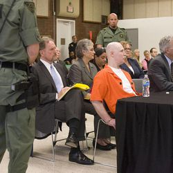 Ronnie Lee Gardner listens to proceedings during his commutation hearing as his attorney's Andrew Parnes and Megan Moriarty listen at the Utah State Prison in Draper, Utah, Thursday, June 10, 2010. Gardner was executed by firing squad a week later.