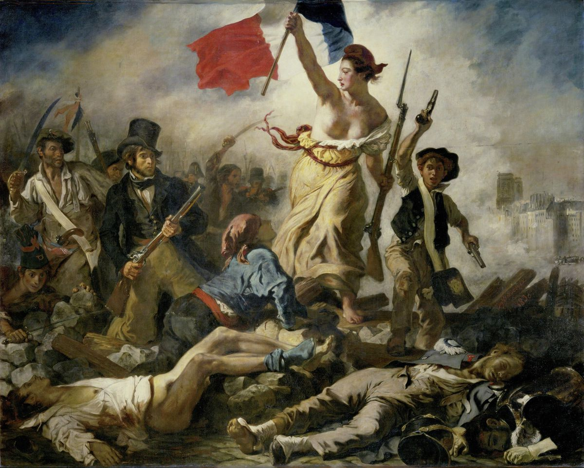 """A bare-chested woman with aPhrygian capleads a varied group of people forward over a barricade and the bodies of the fallen, holding the flag of theFrench Revolutionin one hand and brandishing a bayonettedmusketwith the other in Eugène Delacroix's painting """"Liberty Leading the People."""""""