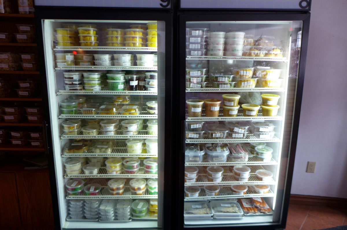 Visit the glass case and take home a sweet or a snack.