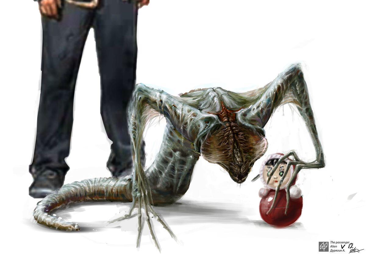 the sputnik alien holds a doll
