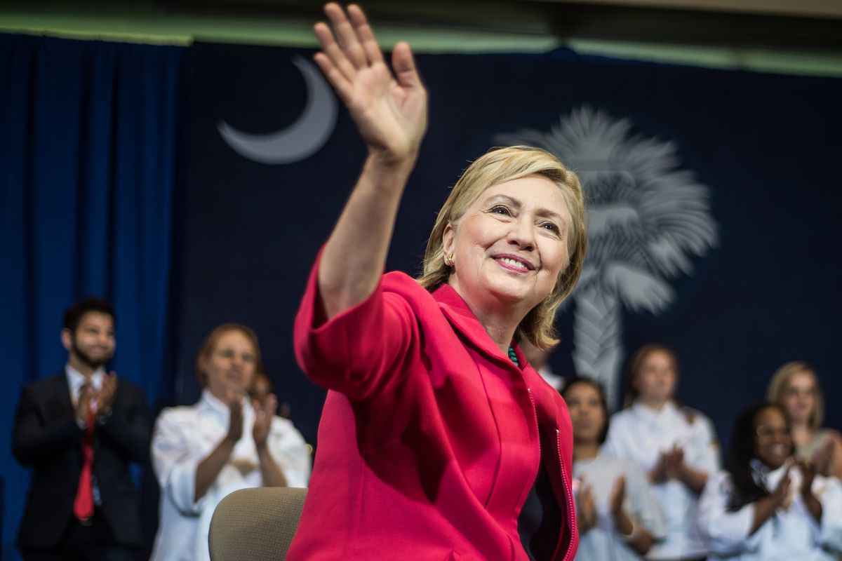 Democratic Presidential candidate and former US Secretary of the State Hillary Clinton holds a forum at Greenville Technical College on July 23, 2015, in Greenville, South Carolina.