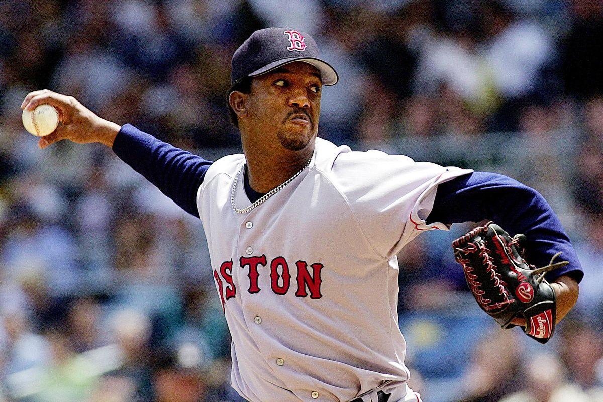 Boston Red Sox's pitcher Pedro Martinez throws dur